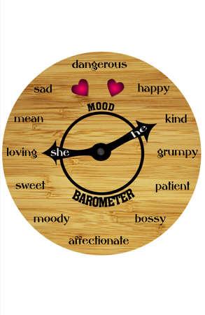 dispositions: Una vista de una cara de reloj como ronda, madera con las manos se�alando a una variedad de Estados de �nimo emocionales humanos. Fondo blanco  Foto de archivo