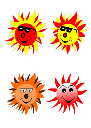 a cartoon sun with sunglasses on white Vector