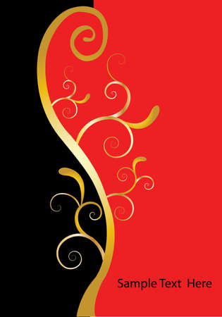 black and white image: red and black background with gold swirls Illustration