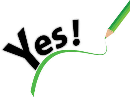 a yes sign with green line and pencil