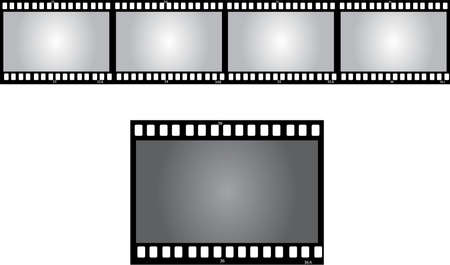a roll of old negative on white background Vector