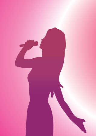 a lady singer with a pink back ground