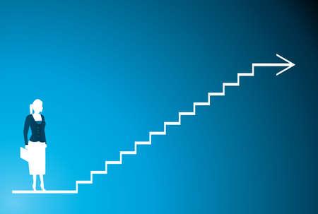 stair: un shilhouette de un azul de las mujeres de negocios y de paso  Vectores
