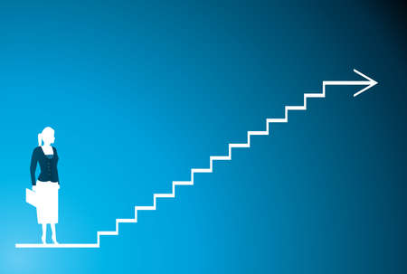 un shilhouette di un business donne blu e il passo