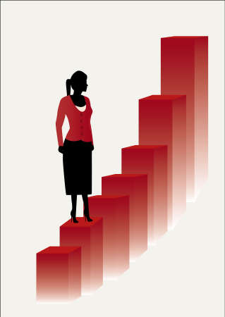 stepping:  young female business women on  red steps Illustration
