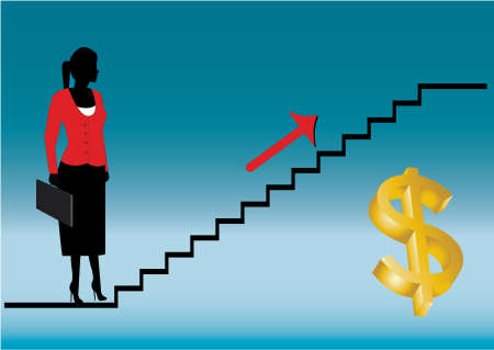 climbing stairs: business  lady looking to the future