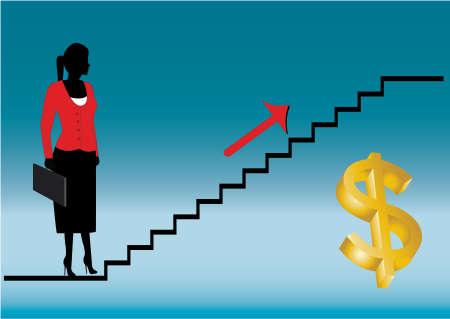 climbing stairs: Dama de negocio mirando hacia el futuro  Vectores