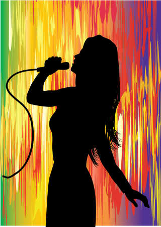 a young singer with  multi colored background Vector