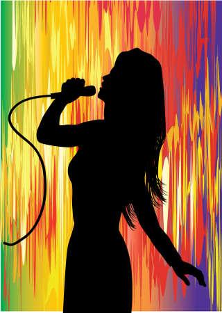 s�ngerin: eine junge S�ngerin mit Multi farbige Hintergrund  Illustration