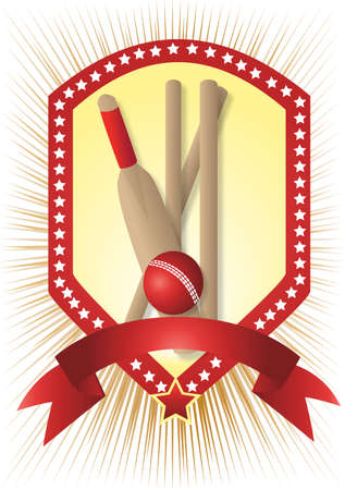 cricket set with stars and white with gold rays Vector