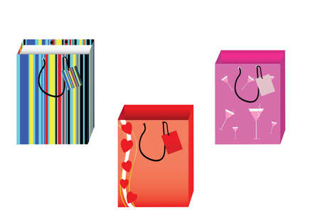 a set of three striped shopping bag Vector
