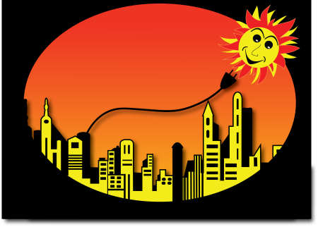 solarpower: happy sun shining over a city silhouette Illustration
