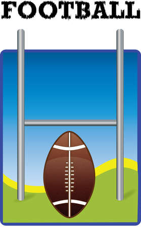 one football with goal post on green and blue background Vector