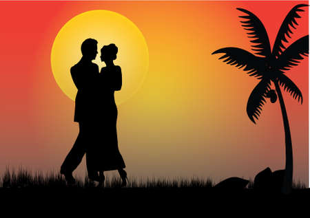 a young couple in the moonlight with a palm tree  Stock Vector - 8077761
