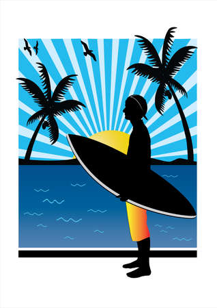 a teenager surfer with palm tree in the background Vector