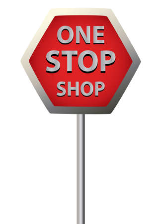 1 object: a single sign saying  one stop shop