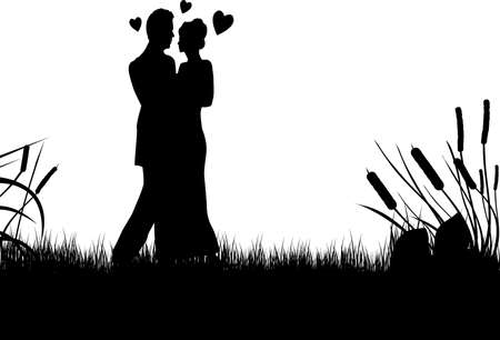 silhouette of a young couple  black and white Stock Vector - 8283905
