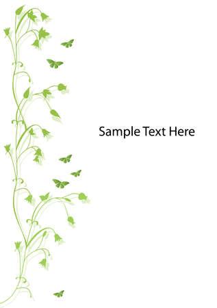 motive: Green floral Design mit Schmetterlingen und Platz f�r text Illustration