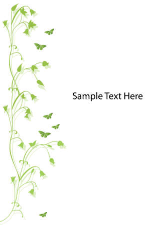 room for text: green floral design with butterflies and room for text