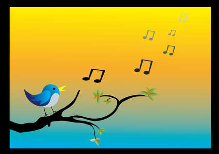 perching: a bird on a branch singing with orange and blue background