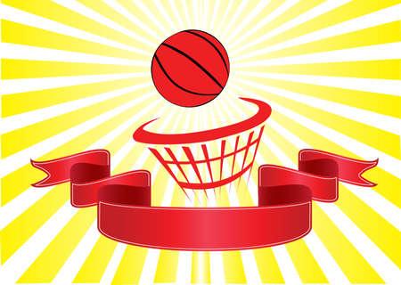 basketball net: basket ball and red banner yellow rays
