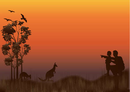 silhouette of australian outback with kangaroos Vector