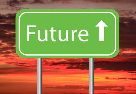 bright future: sunrise and green future sign pointing upwards