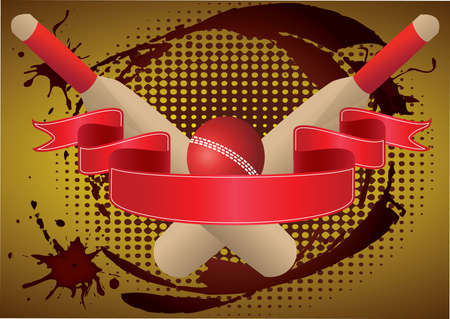 two cricket bats  with red  ribbon grunge Vector