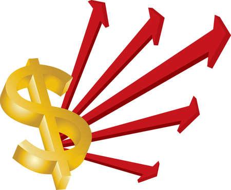 signos de pesos: signo de d�lares de oro de flechas rojas sobre fondo blanco Vectores