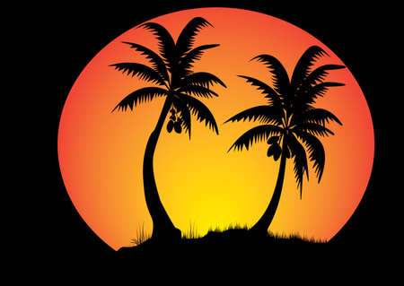 two coconut trees with sunset background in a circle Vector