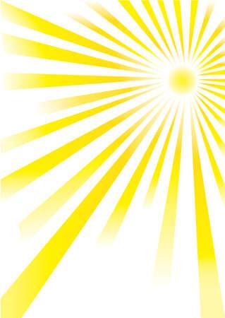 rayos de sol: sol amarillo de diferentes longitudes sobre fondo blanco