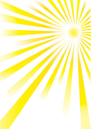 yellow sunrays of different lengths on white background