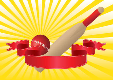 one cricket bat and ball with yellow rays Stock Vector - 9465268