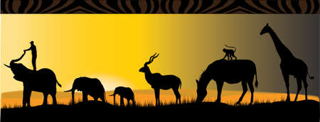 six different african animals in the sunset Vector