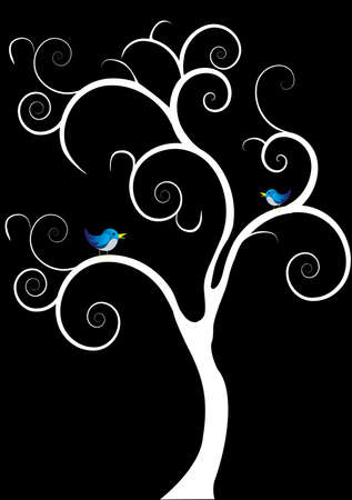 two blue birds on a white tree black background