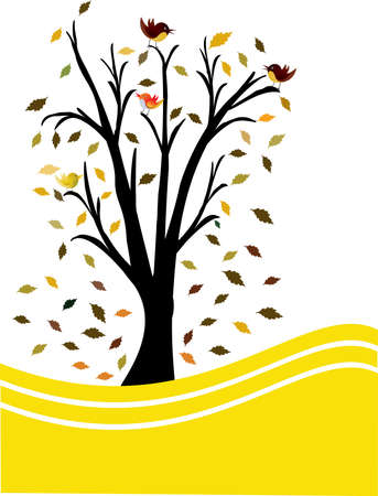 a single black tree yellow and white background Stock Vector - 9716820