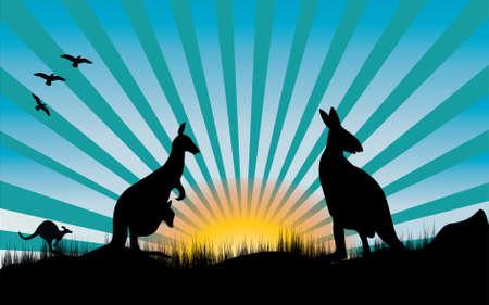 three kangaroo and blue rays and sun Vector