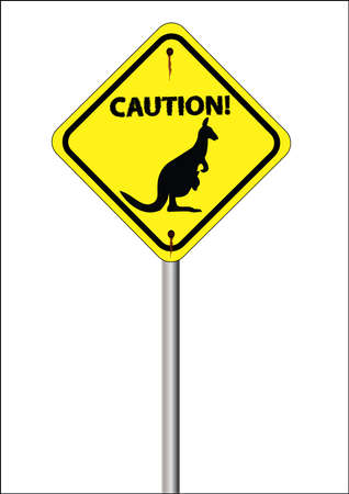 yellow kangaroo sign with caution written on it with white background Stock Vector - 9872615