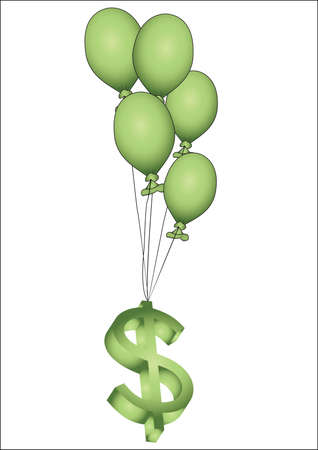 business flying: many green ballons and 3D dollar sign