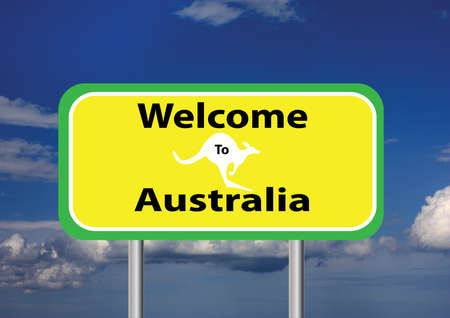 roo: a welcome sign with a sky background