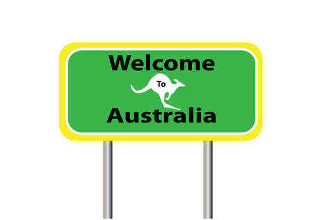 roo: welcome  sign for Australia on white background