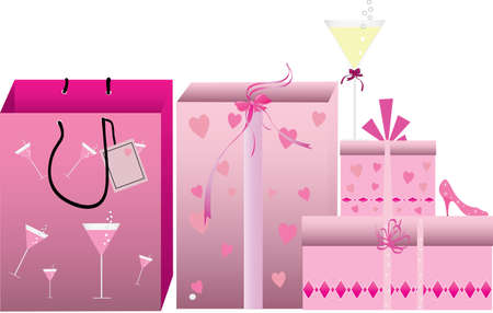 alcohol cardboard: pink shopping bags and boxes on white background