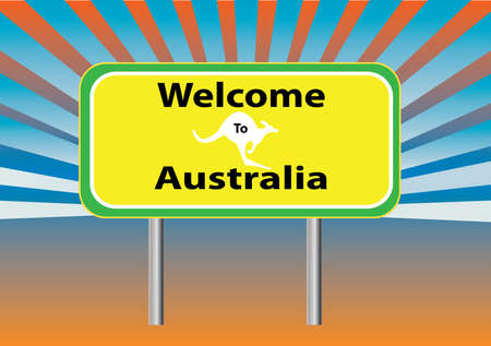 down under: a welcome  sign to Australia with rays in the background