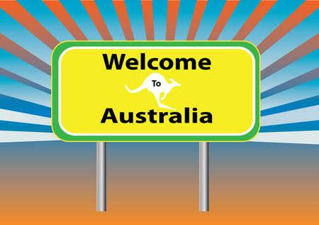 australian outback: una se�al bienvenida a Australia con rayos en segundo plano Vectores