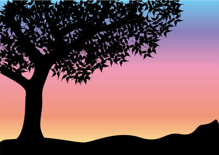 black and white line drawing: black tree glowing background Illustration