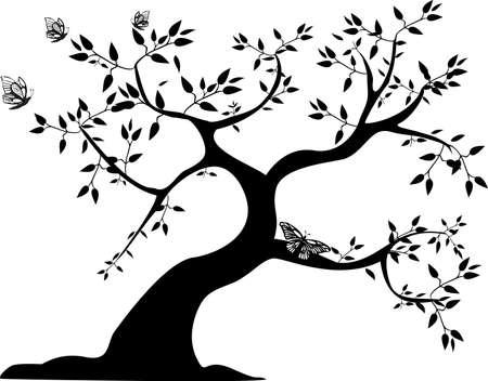 un solo árbol negro con tres mariposas Ilustración de vector