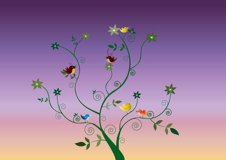 a floral design with six colored birds Stock Vector - 10283294