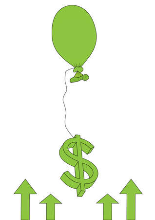financial freedom: balloon and dollar sign on white background Illustration