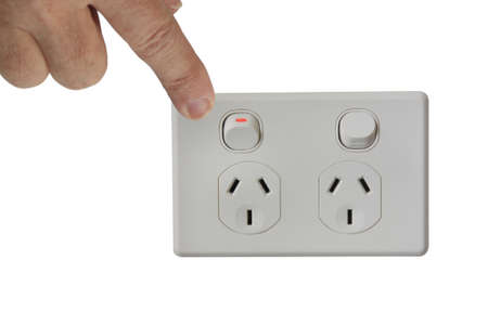 hand switching of the power switch photo