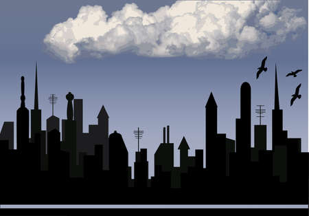 silhouette of a city with blue sky and cloud Stock Vector - 10481683